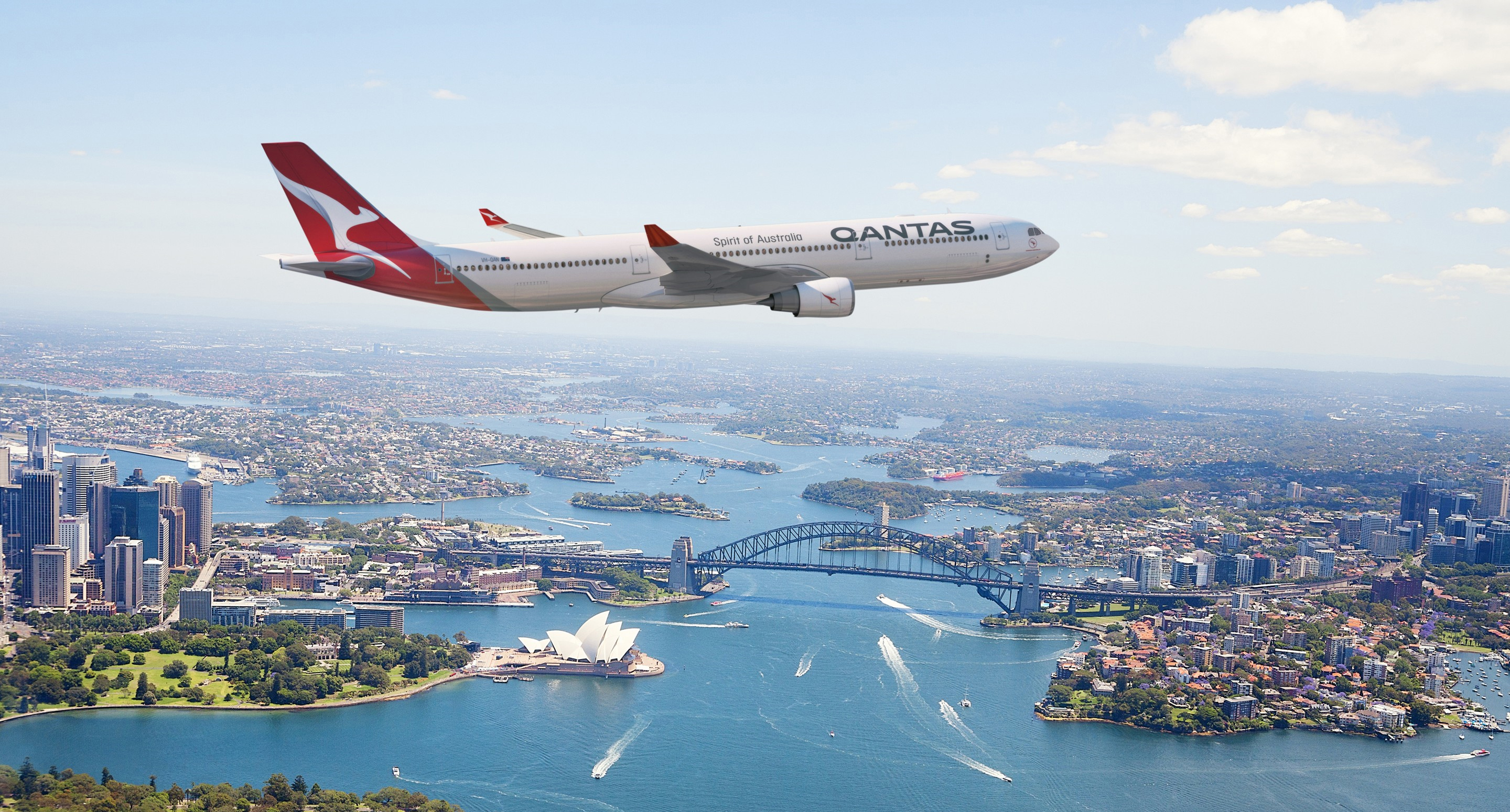 Qantas A330 over Sydney Harbour, Sydney, NSW